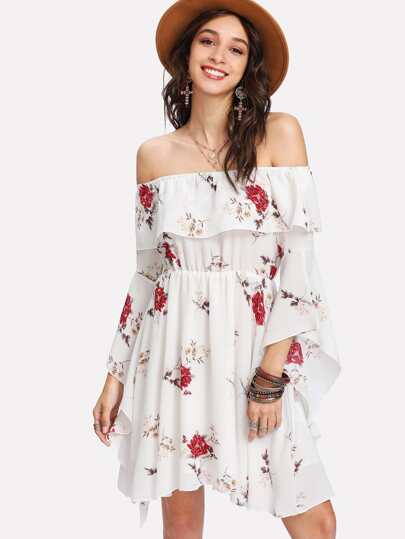 Flounce Bardot Neck Trumpet Sleeve Floral Dress