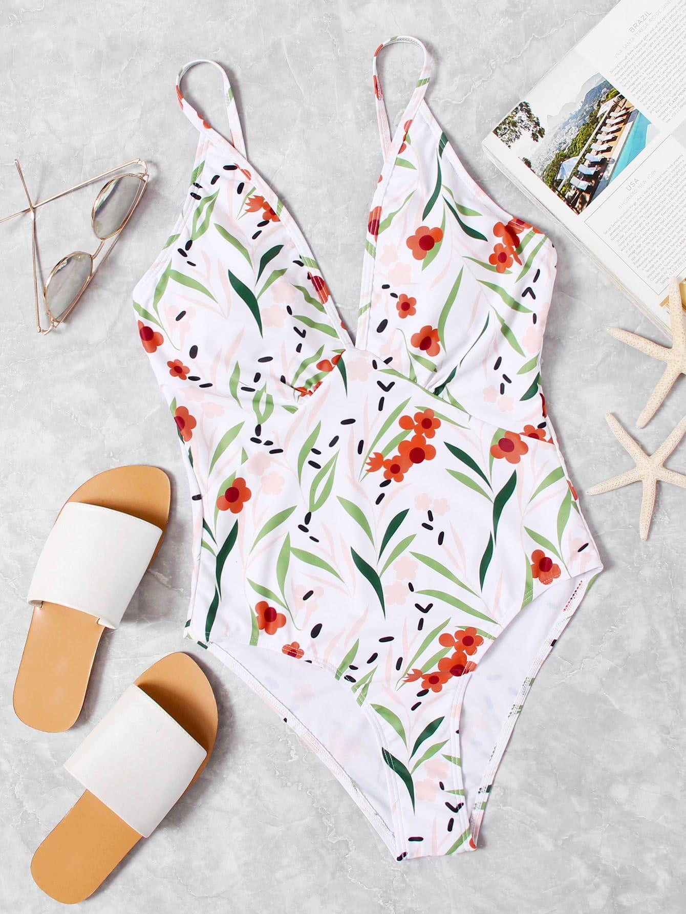 Купить Модный купальник с цветочным принтом и V-образным вырезом, null, SheIn