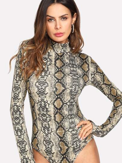High Neck Digital Printed Bodysuit