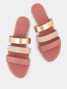 Multi Color 3 Strap Slip On Sandals ROSE GOLD