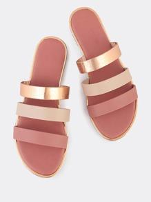 Multi Color 3 Strap Slip On Sandals ROSE GOLD