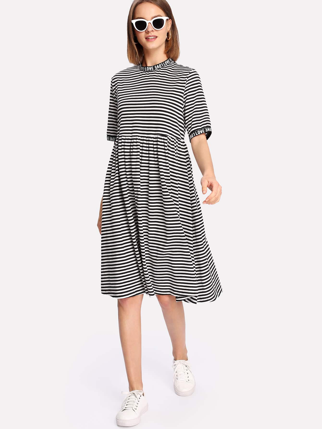 Letter Print Neck And Cuff Striped Dress letter print neck and cuff striped dress