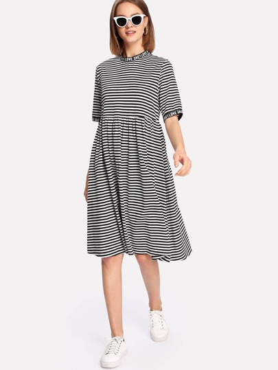 Letter Print Neck And Cuff Striped Dress