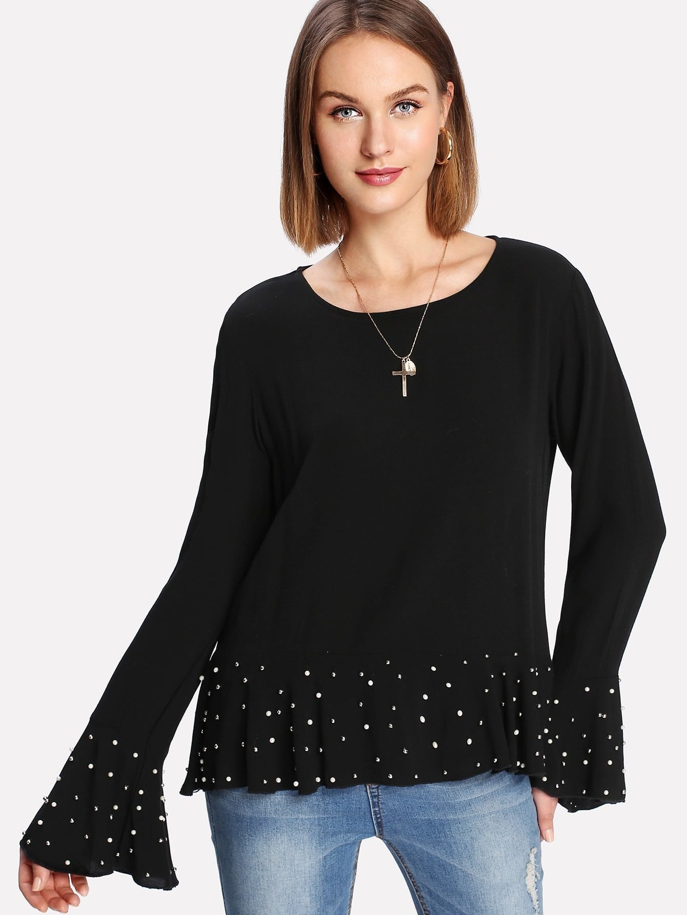 Pearl Detail Ruff Cuff And Hem Top pearl and layered lace detail pullover