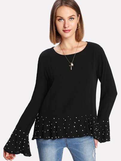 Pearl Detail Ruff Cuff And Hem Top