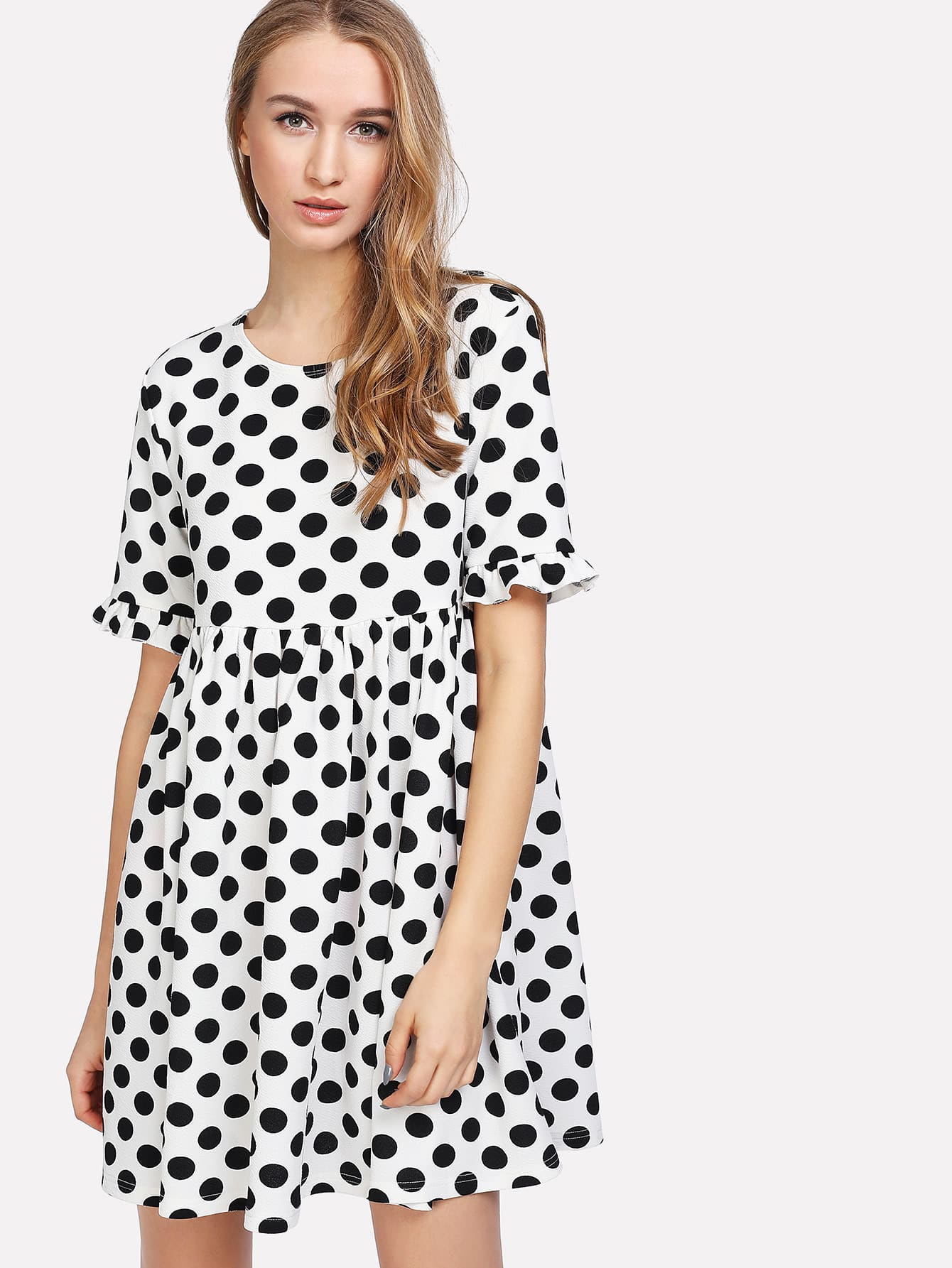 Frill Cuff Smock Polka Dot Dress dot mesh overlay frill detail fluted cuff top