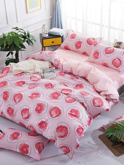 1.8m 4Pcs Watermelon Print Duvet Cover & Sheet & Sham Set