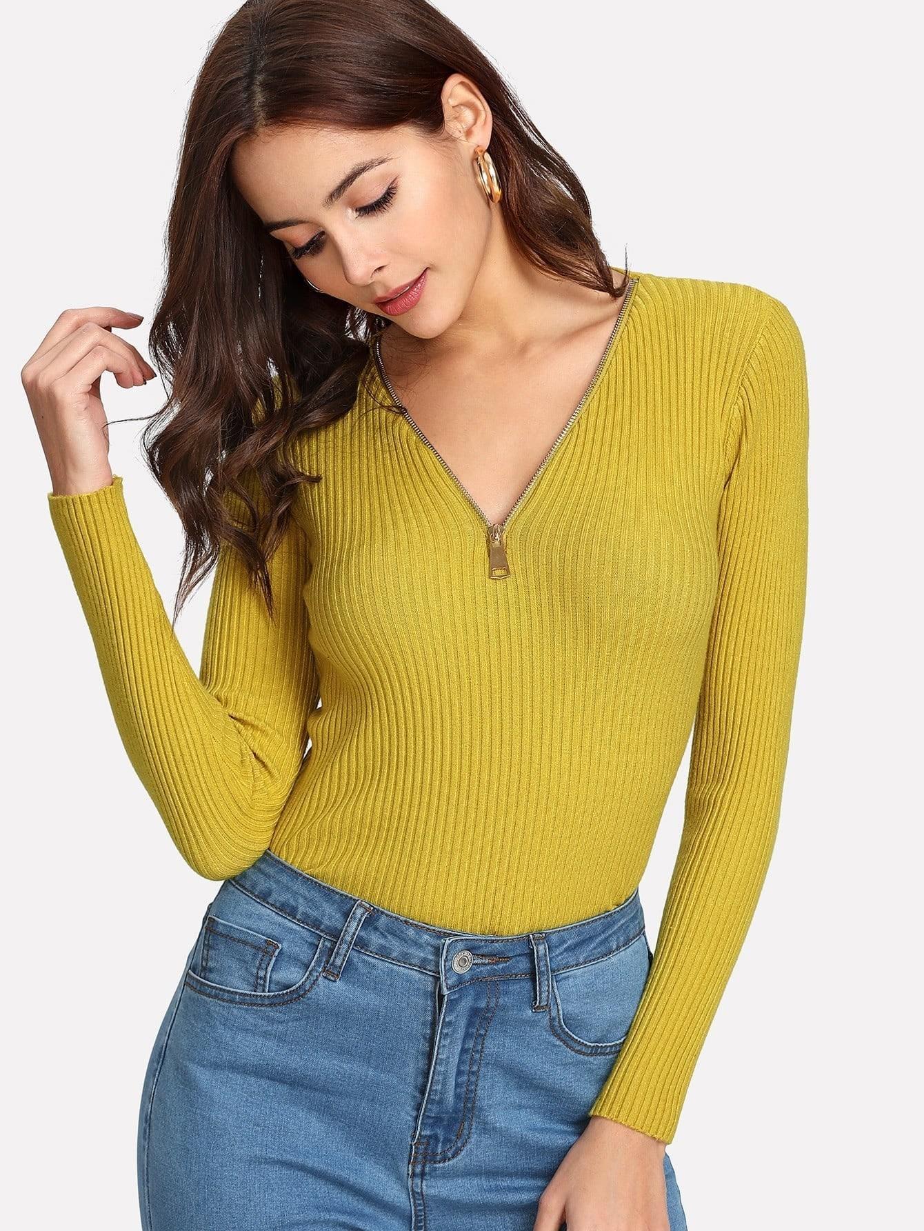 V Neck Zipper Ribbed Sweater