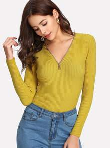 V Neck Zipper Ribbed Sweater