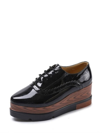 Lace Up PU Platform Cuña Oxfords