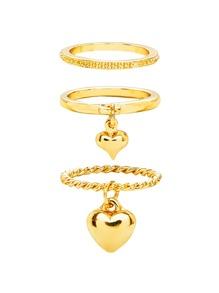 Heart Charm Ring Set 3pcs