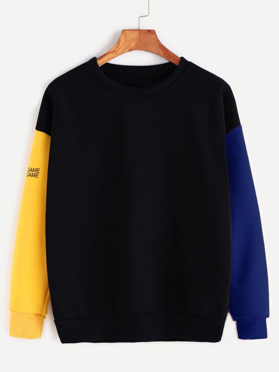 Contrast Sleeve Letter Print Sweatshirt