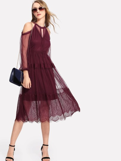 Open Shoulder Lace Trim Mesh Overlay Dress