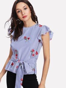 Flutter Sleeve Tie Waist Embroidered Striped Top