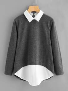 Contrast 2 In 1 Blouse