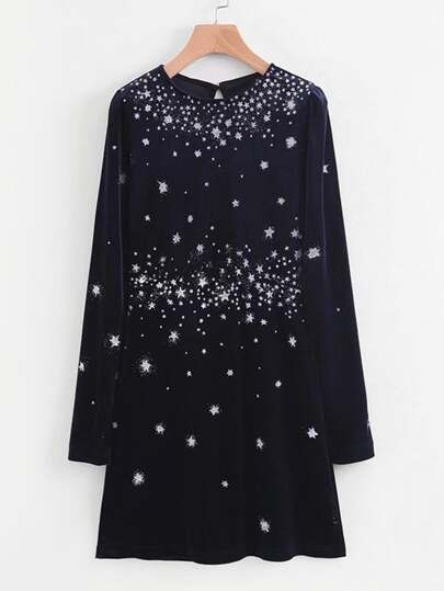 Star Overlay Velvet Dress