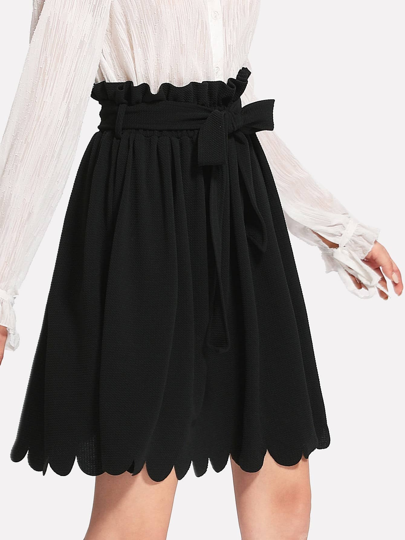 Self Belt Scallop Hem Textured Skirt ruffle waist zip back scallop hem embroidered gingham skirt
