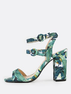 Tropical Double Ankle Strap Chunky Heels GREEN