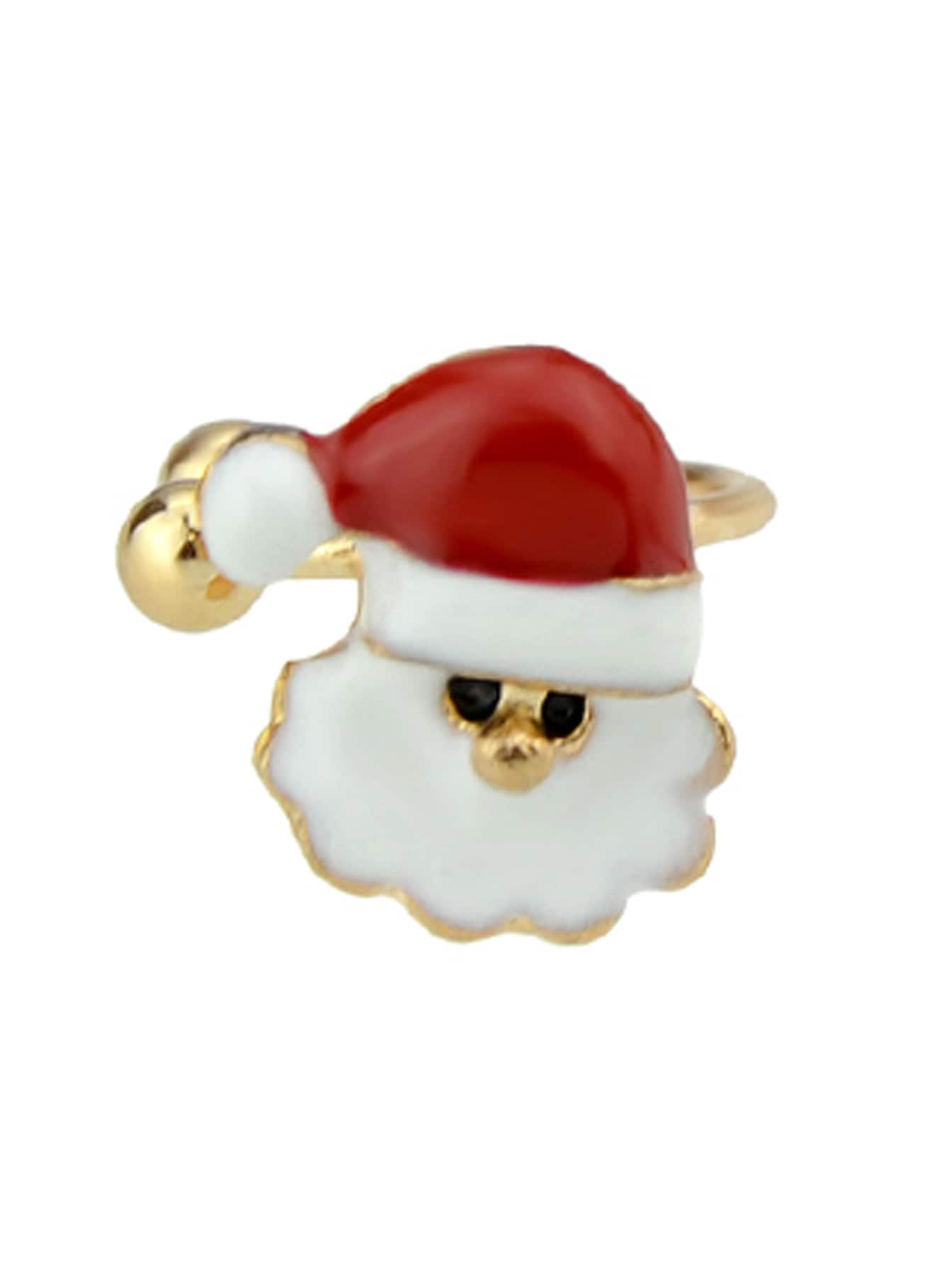 Santa 1Pc Christmas Jewelry Enamel Santa Snowflake Bell Deer Gift Box Snowman Ear Cuff Cartilage Clip Earrings
