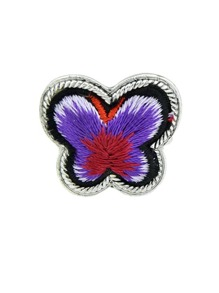 Purple Handmade Embroidery Butterfly Finger Ethnic Rings