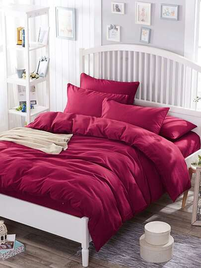 2.0m 4Pcs Simple Solid Duvet Cover Set