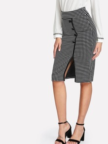 Split Front Gingham Button Skirt
