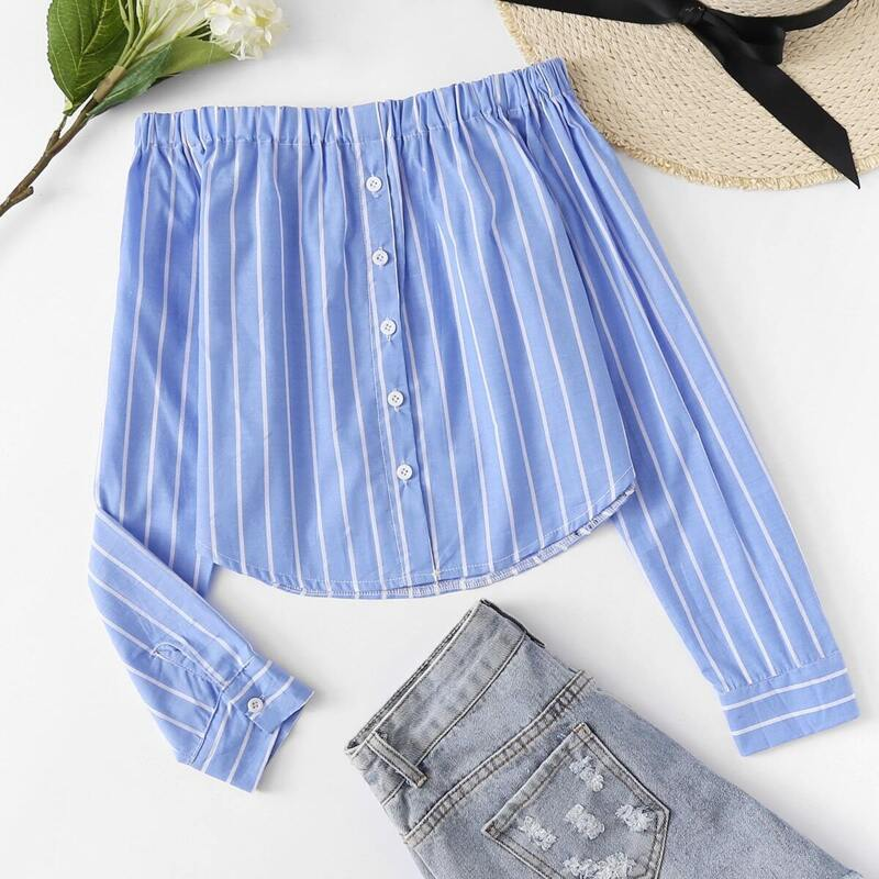 Off Shoulder Single Breasted Striped Top, Blue