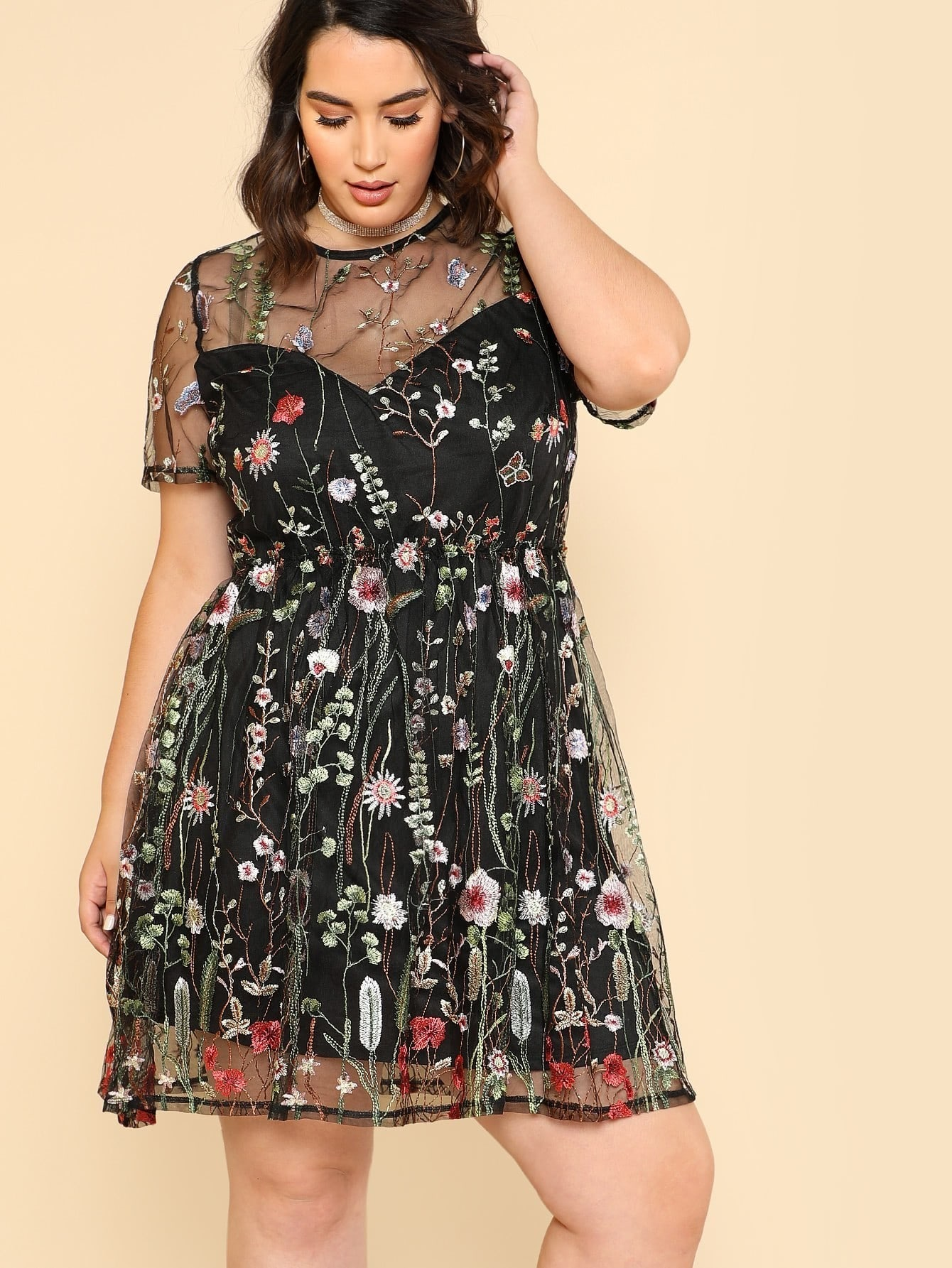 Botanical Embroidery Mesh Overlay Fit & Flare Dress applique mesh overlay fit