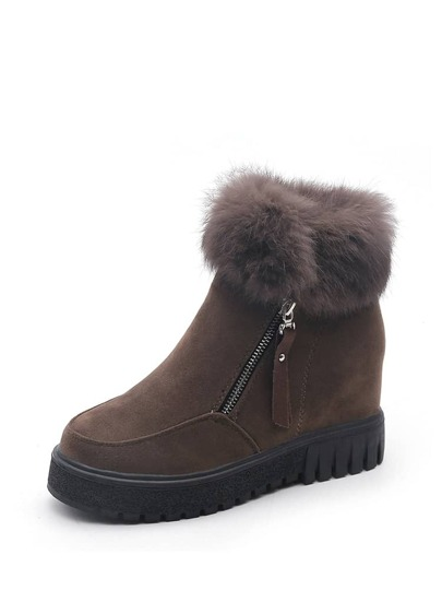 Side Zipper Faux Fur Wedge Boots