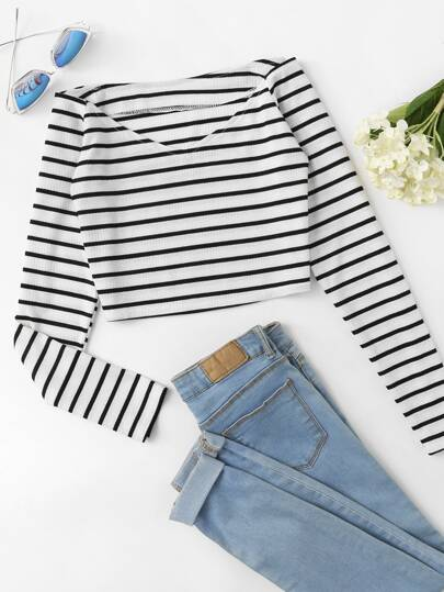 Off Shoulder V Neckline Striped Tee