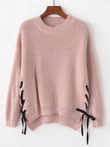 Lace Up Side Drop Shoulder High Low Jumper