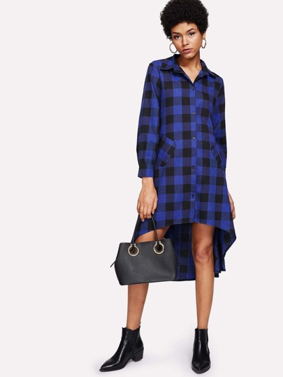 Dip Hem Dingle Breasted Checked Shirt Dress