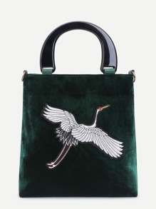 Crane Embroidery Velvet Tote Bag