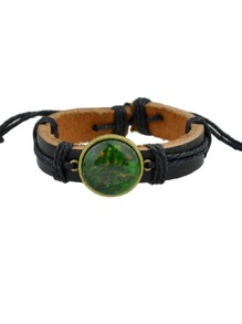 Green Hiphop Jewelry Rock Style Pu Leather Bracelets