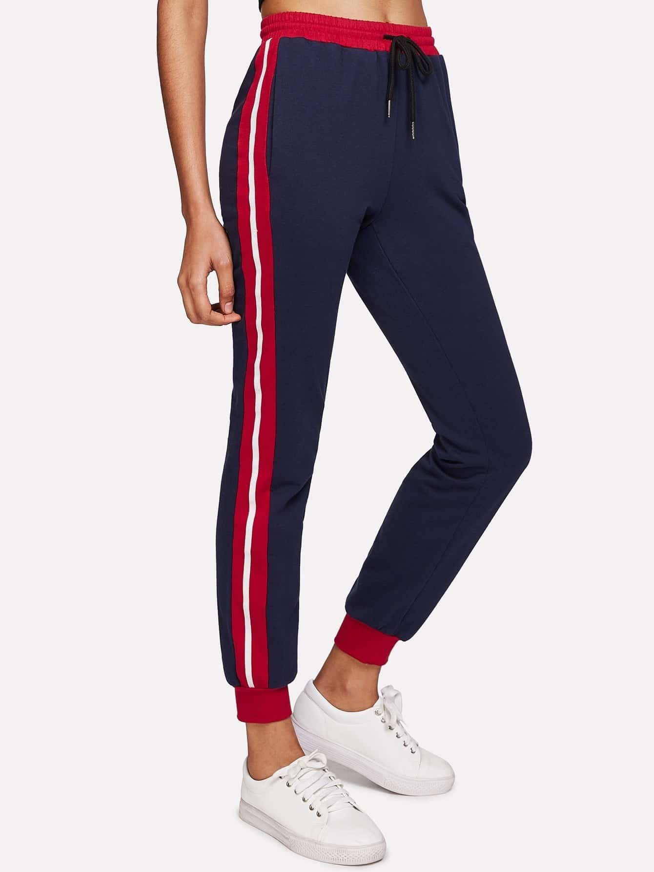 Contrast Panel Side Heather Knit Sweatpants contrast striped side sweatpants
