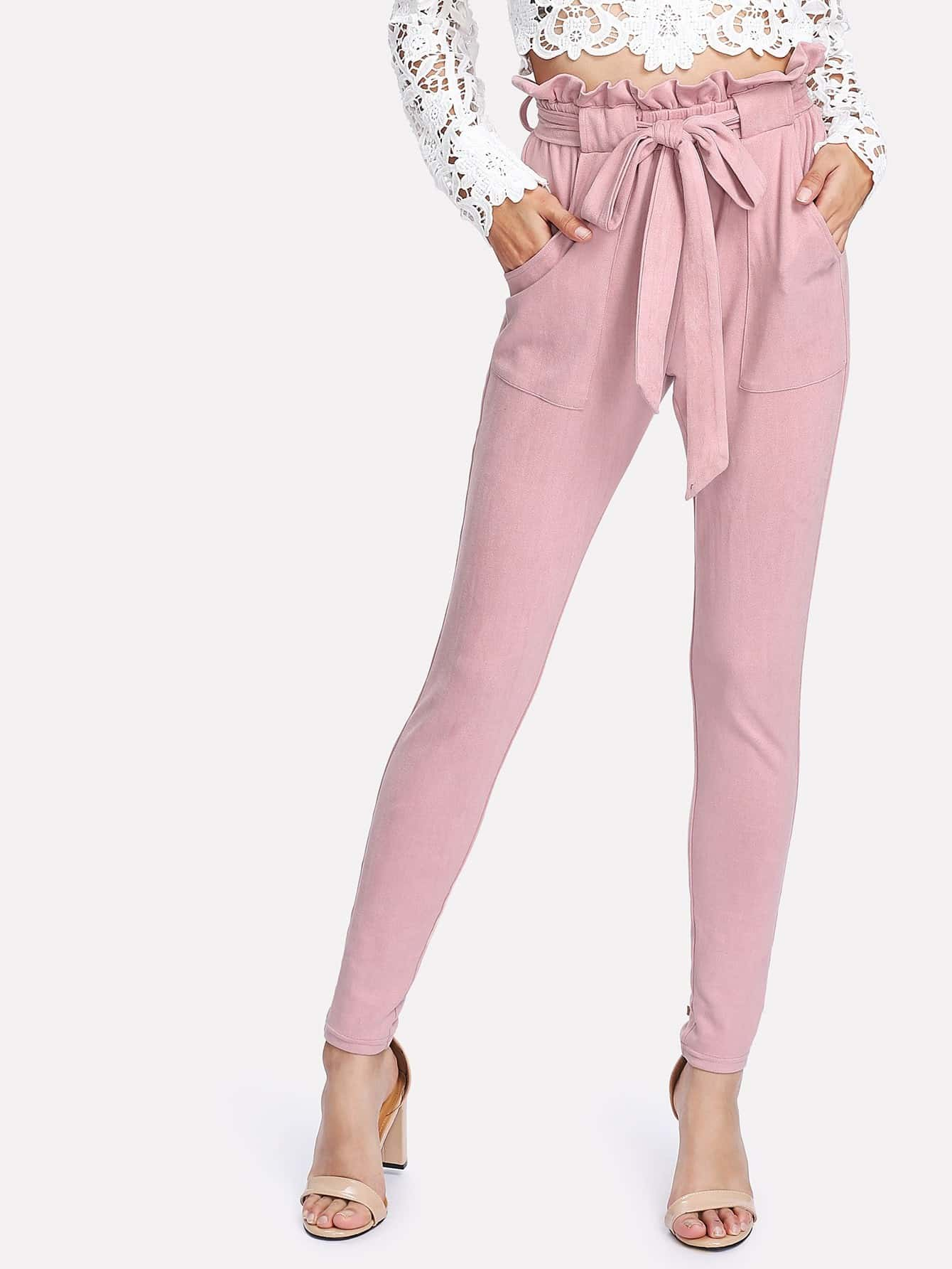 Self Belted Frilled Waist Suede Pants ruffle waist belted peg pants