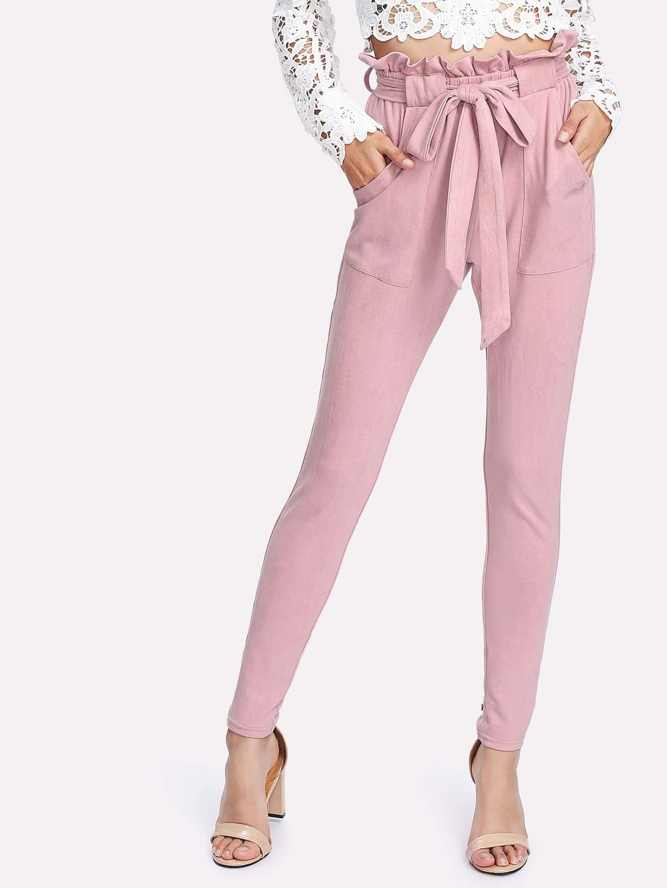 Купить Модные замшевые брюки с поясом, Gabi B, SheIn
