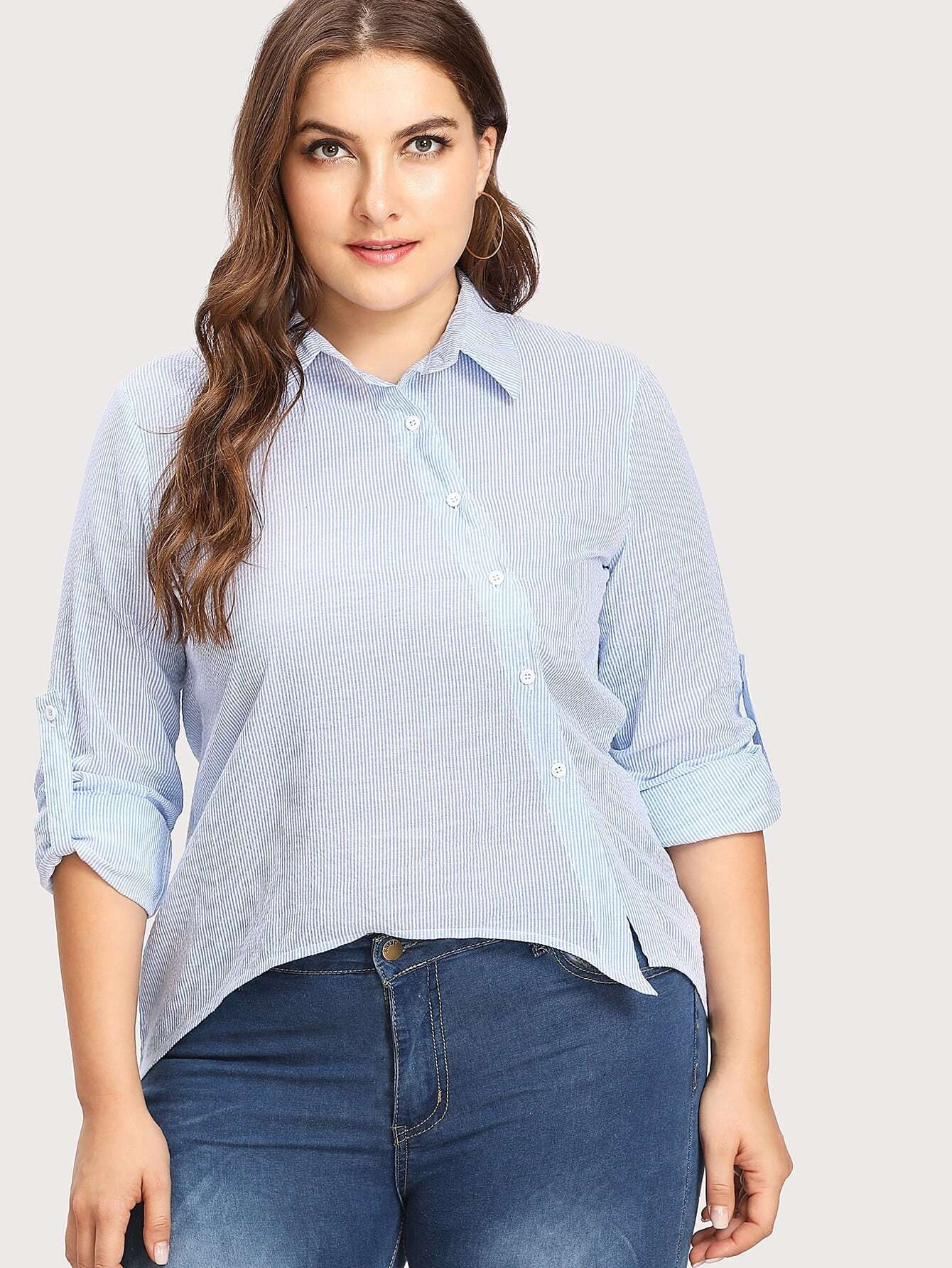Image of Asymmetric Buttoned Placket Striped Print Blouse