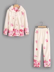 Flower Print Long Pajama Set