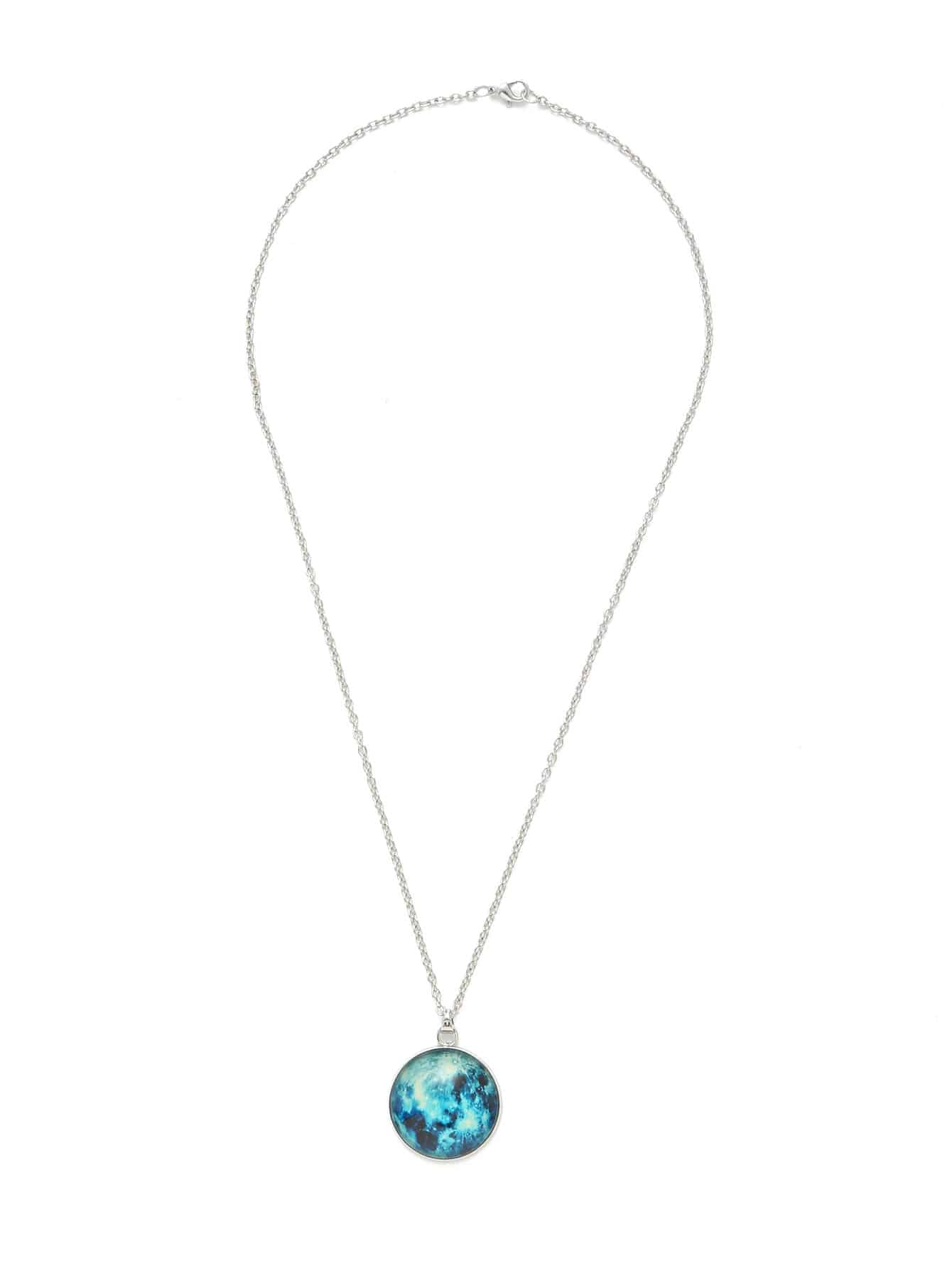 Luminous Round Pendant Link Necklace