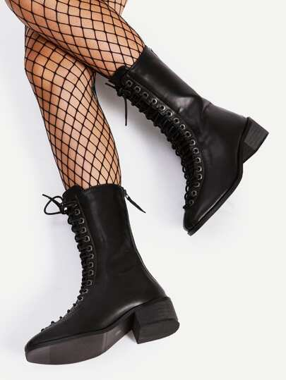 Square Toe Lace Up Mid Calf Boots