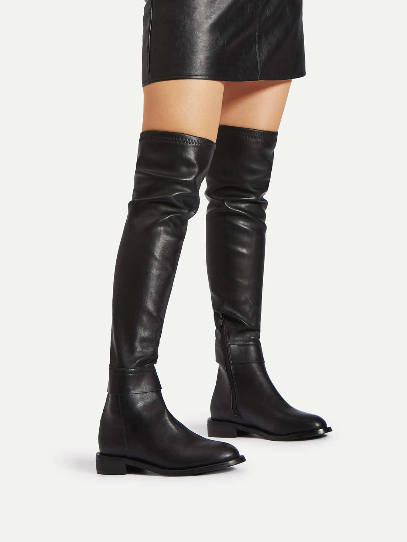 Side Zipper PU Thigh High Boots new women over knee boots with fur black thigh high boots shoes woman round toe winter stretch slim winter boots black fs 0104