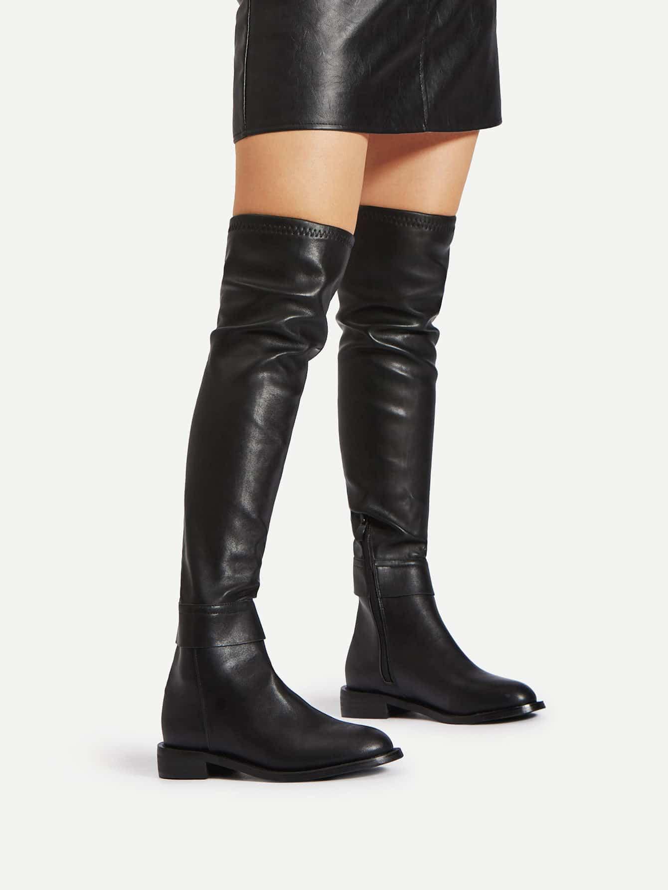 Side Zipper PU Thigh High Boots