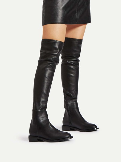 Side Zipper PU Thigh High Boots