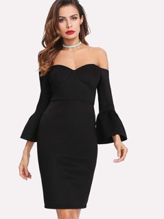 Flounce Sleeve Sweetheart Bardot Dress