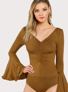 Exaggerate Sleeve Ruched Front Bodysuit