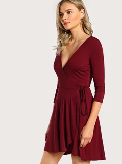 Knot Side Surplice Wrap Dress