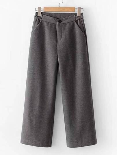 Wool Blend Straight Pants