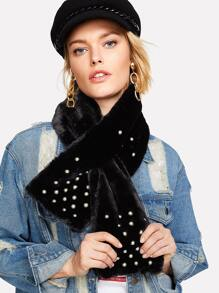 Faux Pearl Tippet Scarf