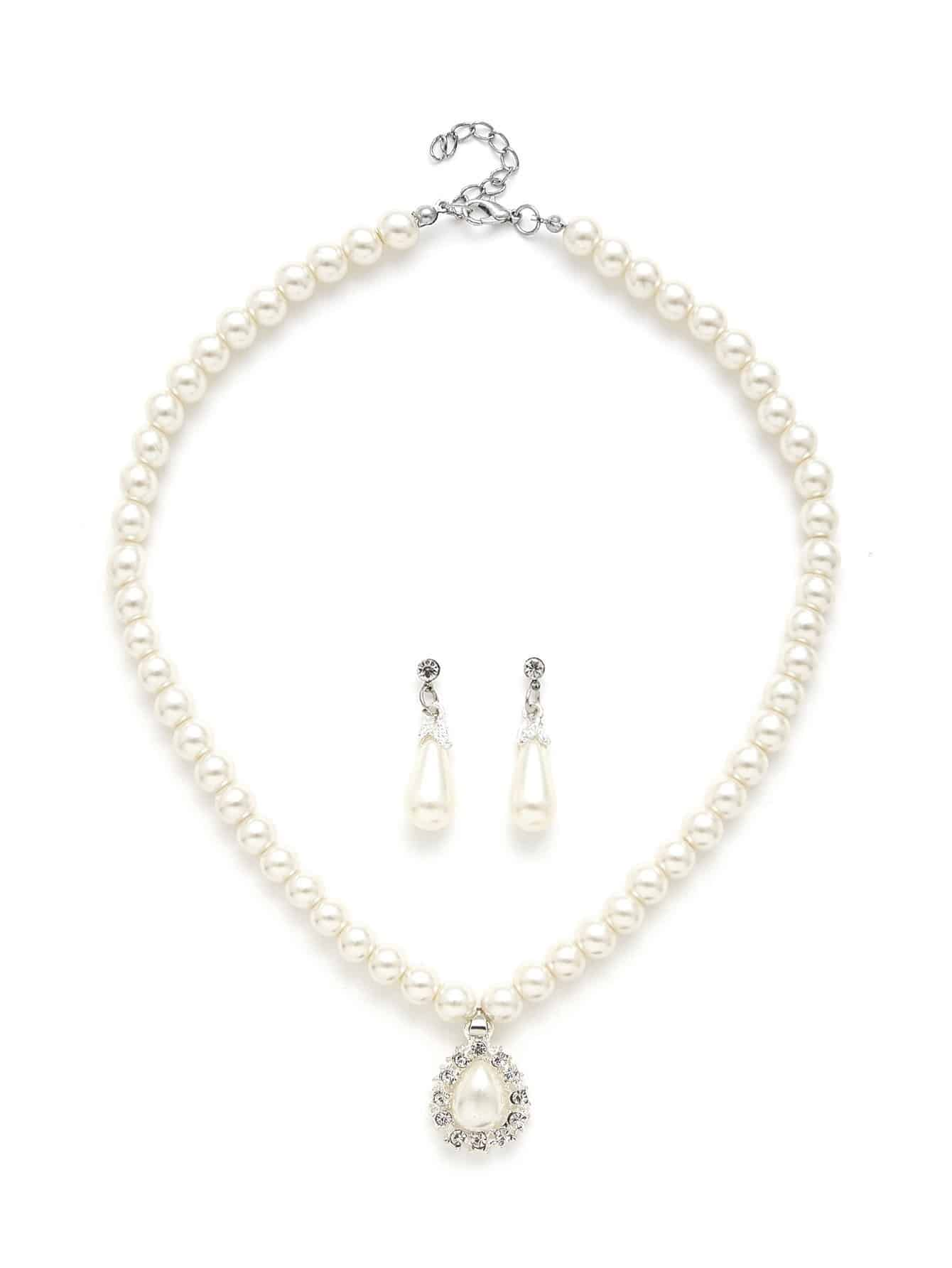 Water Drop Faux Pearl Design Necklace & Earring Set 110mm cylinder water tank sc600 pump computer water cooling radiato set drop shipping